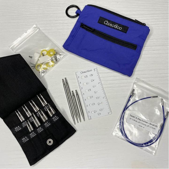 Набор TWIST Blue Shorties съемные металлические спицы ChiaoGoo 5 и 8 см (синий чехол)